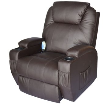 Massage recliner with heat